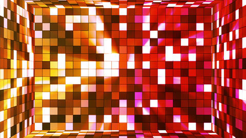 Broadcast Twinkling Hi-Tech Squares Room, Yellow Red, Abstract, Loopable, HD Animation
