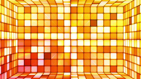 Broadcast Twinkling Hi-Tech Cubes Room, Orange, Abstract, Loopable, HD Animation