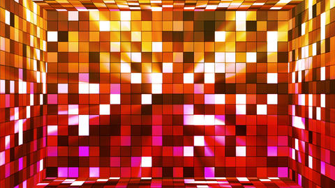 Broadcast Twinkling Hi-Tech Squares Room, Orange Red, Abstract, Loopable, HD Animation