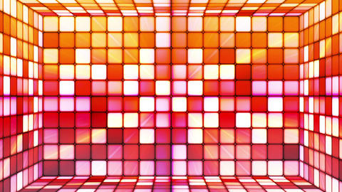 Broadcast Twinkling Hi-Tech Cubes Room, Orange Red, Abstract, Loopable, HD Animation