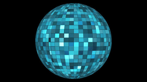 Twinkling Hi-Tech Squares Spinning Globe, Blue Cyan, Corporate, Alpha, Loop, HD Animation