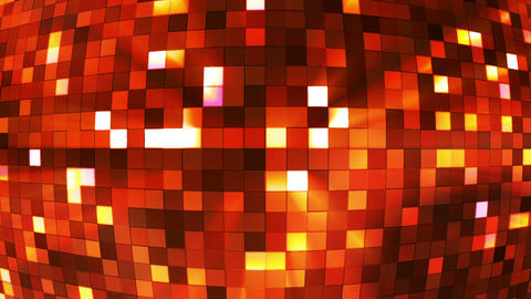 Broadcast Twinkling Hi-Tech Squares Globe, Orange, Abstract, Loopable, HD Animation