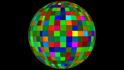 Twinkling Hi-Tech Squares Spinning Globe 06 Animation