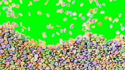 Colorful sweet hearts candies falling background texture pattern Animación