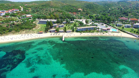 Aerial View of the Aegean Sea at Ouranopolis, Halkidiki, Greece Filmmaterial