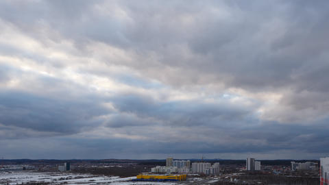 Evening clouds over the suburbs of Yekaterinburg, Russia. SunSet. Time Lapse Footage