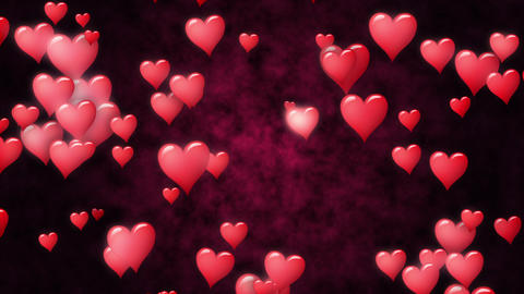 Red hearts fly annd glow at dark red abstract background. Seamless loop Footage