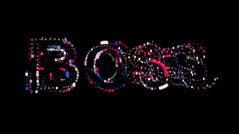 Letters are collected in text BOSS, then scattered into strips. Bright colors Animation