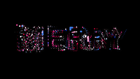 Letters are collected in text MERRY, then scattered into strips. Bright colors Animation