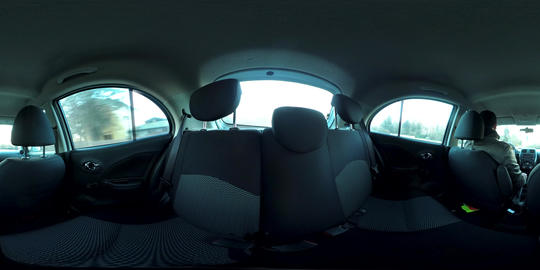360 VR of driving in the sunset from the back seats of a car VR 360° Video