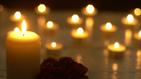 White candles lights romance with rose Footage