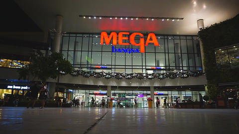 Unidentified peoples are walking front of Mega Bangna, Samut Prakan, Thailand Footage