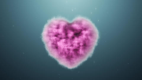 A cloud in the shape of a heart on a turquoise background Stock Video Footage