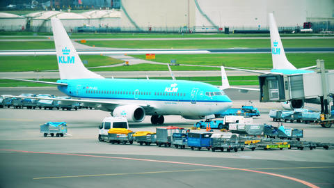 AMSTERDAM, NETHERLANDS - DECEMBER 25, 2017. KLM Boeing 737-7K2 airliner at the Footage