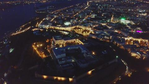 Night view from the air on the Nizhny Novgorod Kremlin. Nizhny Novgorod, Russia, Footage