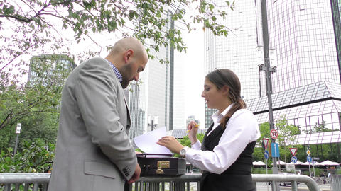 Businessman And Woman Meeting Outdoor 2