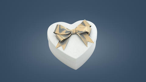 Loopable spin of heart shaped gift box Animation