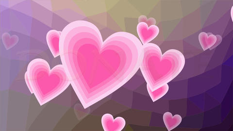 Donate banner with flying pink hearts and golden inscription. Polygonal Animación
