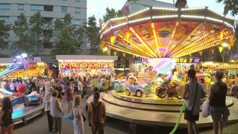 Carousel For Small Kids On Street Fair Footage