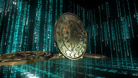 animation of bitcoin currency sign in digital cyberspace Animation