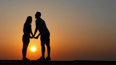 Couple Lovers in Sunset Silhouette Footage