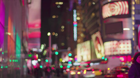 Times Square In New York City At Night, defocus, 4K Footage