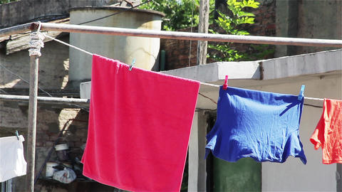 Drying clothes Outside, Close-up Live Action