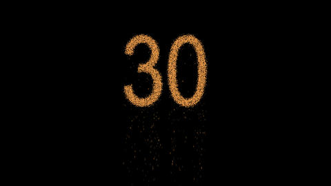number thirty 30 appears from the sand, then crumbles. Alpha channel Animation