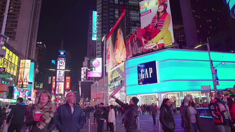 Times square by night, NYC Footage