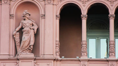 Statue in the Casa Rosada Facade (Pink House), Buenos Aires, Argentina Footage