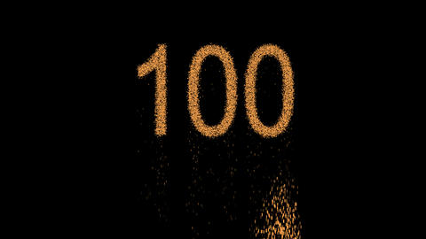 number one hundred 100 appears from the sand, then crumbles. Alpha channel Animation