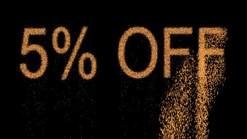 sale label 5% OFF appears from the sand, then crumbles. Alpha channel Animation