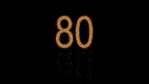 number eighty 80 appears from the sand, then crumbles. Alpha channel Animation