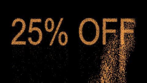 sale label 25% OFF appears from the sand, then crumbles. Alpha channel Animation