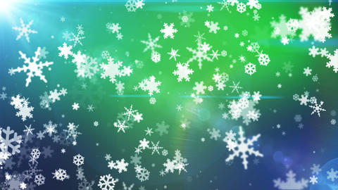 Broadcast Snow Flakes, Green Blue, Events, Loopable, HD Animation