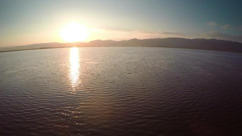 Flying over Inle Lake at sunset, Myanmar (Burma) Footage