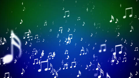 Broadcast Rising Music Notes, Green Blue, Events, Loopable, HD Animation