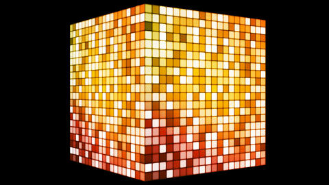 Broadcast Hi-Tech Twinkling Spinning Cube, Golden Orange, Corporate, Loopable, HD Animation
