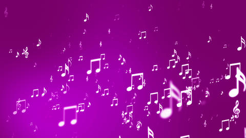 Broadcast Rising Music Notes, Magenta, Events, Loopable, HD Animation