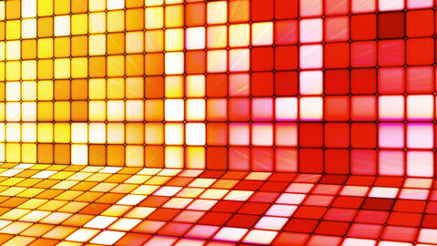 Broadcast Twinkling Hi-Tech Cubes Stage, Yellow Red, Abstract, Loopable, HD Animation