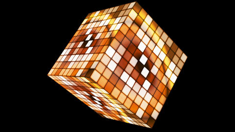 Broadcast Hi-Tech Twinkling Spinning Cube, Brown, Corporate, Alpha, Loopable, HD Animation