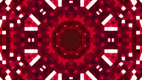 Broadcast Firey Light Hi-Tech Squares Kaleidoscope, Red, Abstract, Loopable, HD Animation