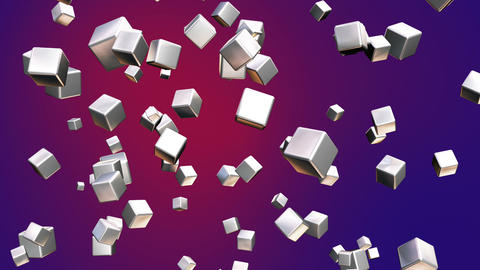 Broadcast Falling Hi-Tech Cubes, Red Purple, Corporate, Loopable, HD Animation