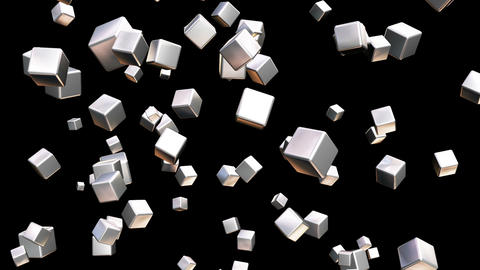 Broadcast Falling Hi-Tech Cubes, Grayscale, Corporate, Loopable, HD Animation