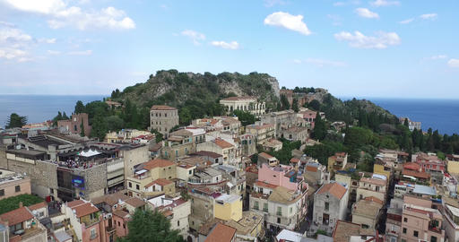 Mountain Landscape By Village Taormina, Italy Footage