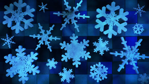 Broadcast Spinning Hi-Tech Snow Flakes, Blue, Events, Loopable, HD Animation