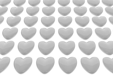 Pattern of 3D hearts isolated on white background Fotografía