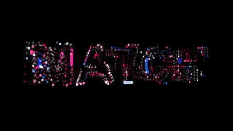 Letters are collected in text MATCH, then scattered into strips. Bright colors Animation