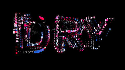 Letters are collected in text DRY, then scattered into strips. Bright colors Animation