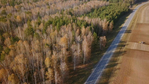 The tractor plows a field with fertilizers. Autumn, Russia, From Dron, Departure Footage